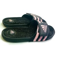 Adidas Adissage Slides Pink & Black Women's Size 8 Athletic Sandals Shoes EUC