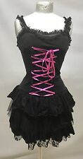 Gothic Punk Short Dress With Pink Ribbon Sm