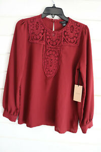 Halogen Womens Wine Red Jewel Neck Long Sleeves Lace Trim Crepe Blouse S $69