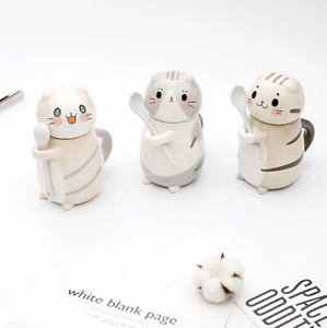 Cute ceramic cat mug with lid and spoon- for hot drinks, soup etc. Cat Lover