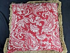 "TAHARI Home Lg 19"" Sq RED Taupe PAISLEY Complete PILLOW Zip Cover Burlap Fringe"