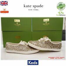 Keds Kate Spade Shoes CH KS Glitter Ladies Women Sneakers, Platinum U.K 2.5