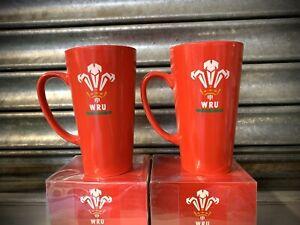 2 TWO PAIR - Latte Coffee Welsh CYMRU WRU Official Rugby Gift Mug Wales