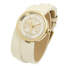 TORY BURCH TRB4007 Reva Ivor Double Wrap Leather Gold Dial Logo Swiss 28MM NEW