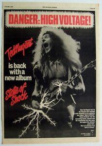 TED NUGENT 1979 original POSTER ADVERT STATE OF SHOCK high voltage