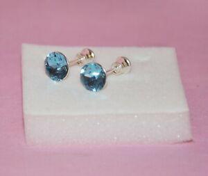 Orecchini punto luce in argento 925 per donna con Swarovski Aquamarine