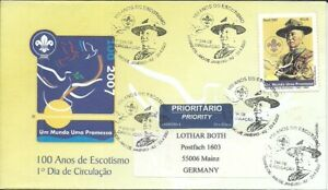BRAZIL 2007 BOY SCOUTS Scoutism, Sir BADEN POWEL on OFFICIAL circulated FDC