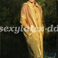 Latex 100% Rubber Long Coat  Windbreaker Outwear New Style Colorful Size S-XXL