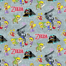 Nintendo Legend of Zelda sword powers 100% cotton fabric by the yard