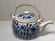 Vintage Art & Crafts Style Pottery Teapot With Wicker Handle Blue & White