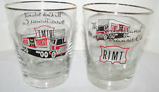 "(2) Vintage Rock Island Motor Transit Co Glasses - Gold Rim - 4 3/8"" T MINT - L4"