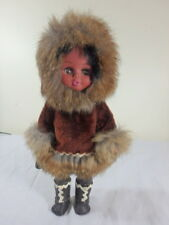 Vintage Alaskan Inuit Eskimo Plastic DOLL Real Fur Sleep Eyes Leather boots