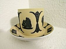 Rare Wedgwood black on buff yellow dipped jasperware Demitasse Cup & Saucer