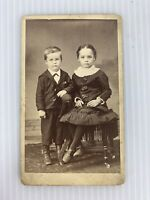 "Boy and Girl Photo Victorian Children Photo 2 1/2 x 4"" Black and White"