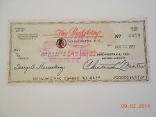1972 REDSKINS CHECK TO TERRY HERMELING