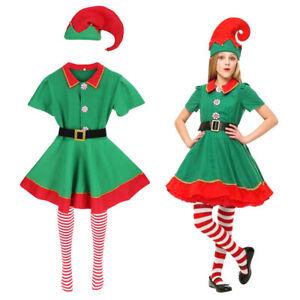 Womens Elf Costume Christmas Fancy Dress Xmas Santa Helper Outfit Ladies Girls