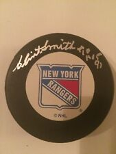Clint Smith HOF 91 autographed New York Rangers puck