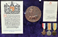 WW1 ROYAL NAVY OFFICER'S DIED ILLNESS MEDAL PLAQUE & SCROLL GROUP CHARLES WOOD