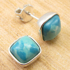 "925 Silver Plated Collectible Simulated Larimar FASHIONABLE Earrings 0.2"" NEW"