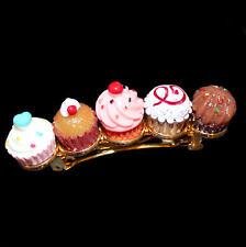 Goldfarbene Haarspange mit Cup Cakes und Muffins, Patentverschluss