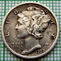 UNITED STATES 1923 P MERCURY DIME - 10 CENTS, PHILADELPHIA, SILVER HIGH GRADE