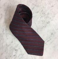 Vintage Tommy Hilfiger Textured Maroon Regimental Stripe Mens Silk Neck Tie USA