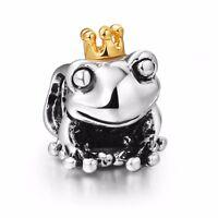 Fashion 925 Sterling Silver Prince Frog European Bead Charms Fit Women Bracelet