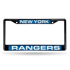 New York Rangers Black Metal License Plate Frame Tag Cover With Laser Cut Inlays