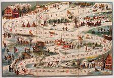 Alte Brettspiele Rodeln verlag J. W. Spear & Söhne, um 1900 ski board game gioco