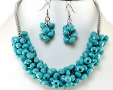 Turquoise Silver Necklace Earrings Acrylic Bead Chunky Jewelry Set