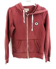 CONVERSE Womens Hoodie Jacket S Small Burgundy Cotton & Polyester