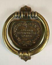 Doorknocker Vintage God So Loved The World. Bronze Finish