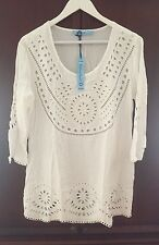 56d7b3e2620a3 NEW Solitaire White Rayon Eyelet 3 4 Sleeve Swimwear Cover-Up Tunic Dress  LARGE