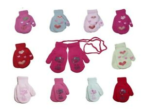 Girls Toddler Autumn Sticker Acrylic Mittens Gloves With String Size 3-4 Years
