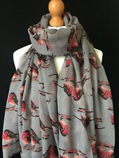 LADIES ROBIN SCARF CHRISTMAS ROBIN SOFT SCARF GREY XMAS CHRISTMAS GIFT IDEA