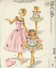 Vintage Girls Dance Costume Sewing Patterns M2152 Size 4