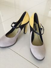 Kenneth Cole Suede Pumps Size 39  Yellow Gray  Black Multicolored