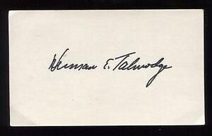 Herman Talmadge Signed 3x5 Index Card Autographed Signature Senator