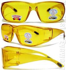 Yellow HD Lens Fit Over Glass Shatterproof Motorcycle Glasses Night Driving 26ND