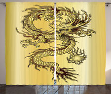 Gold Curtains Dragon Eastern Mythology Window Drapes 2 Panel Set 108x84 Inches