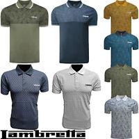 Lambretta Jersey Polo Top AOP Paisley MOD Retro Mens Cotton Shirts UK S-XXL