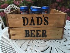 Vintage Wooden Dad's Beer Gift Hamper Wine Crate Box Storage Shabby Chic Retro