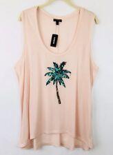 New Express Womens XL Sleeveless Knit Tank Top Palm Tree Sequins Tropical Beach
