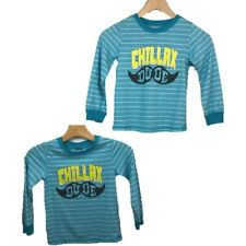 Graphic Shirts 5T Twin Boys Chillax Dude Mustache Striped Blue Wonderkids Casual