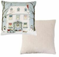 FILLED EVANS LICHFIELD CHRISTMAS SNOW HOUSE SNOWMAN RED MADE IN UK CUSHION 17""