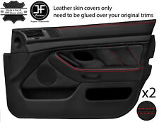 Red Stitch 2X Front Full porte carte en cuir couvre Fits BMW 5 Series E39 95-03