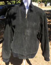 Mens Wear Me Out Black Suede Leather Bomber Jacket Size M Medium Quilted Lined