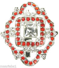 SILVER RED BROOCH DIAMANTE BROACH VINTAGE SHOE CAKE TOPPER PIN BRIDAL NEW UK