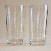 "Vintage Anchor Hocking Clear Drinking Glass Tumblers Etched Wheat 5.5"" Set of 2"