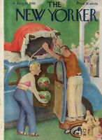 1946 New Yorker Cover- August 24 -Packing the antiques into the Chevrolet-Cotton